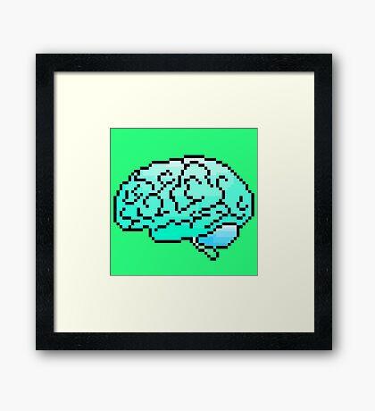 Pixel Art Brain 8-Bit Framed Print