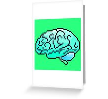 Pixel Art Brain 8-Bit Greeting Card