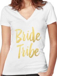 Bride Tribe Gold Foil Wedding Bachelorette Party Hens Night Favors Gifts Women's Fitted V-Neck T-Shirt