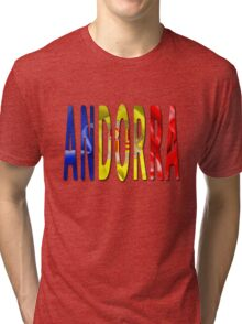 Andorra Word With Flag Texture Tri-blend T-Shirt