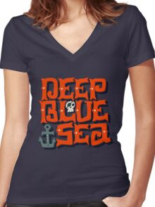 Deep Blue Sea Women's Fitted V-Neck T-Shirt