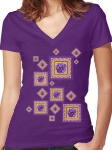 Purple Wildflower Women's Fitted V-Neck T-Shirt