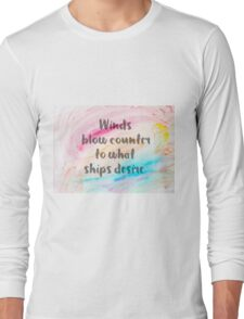 Inspirational quote over water color background Long Sleeve T-Shirt