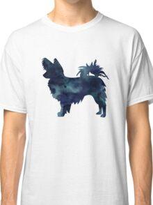 Papillon Dog Black Watercolor Silhouette Classic T-Shirt