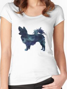 Papillon Dog Black Watercolor Silhouette Women's Fitted Scoop T-Shirt
