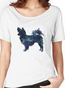Papillon Dog Black Watercolor Silhouette Women's Relaxed Fit T-Shirt