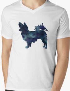 Papillon Dog Black Watercolor Silhouette Mens V-Neck T-Shirt