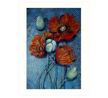 Orange Poppies on Blue Art Print