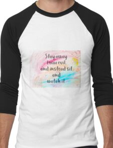 Inspirational quote over water color background Men's Baseball ¾ T-Shirt