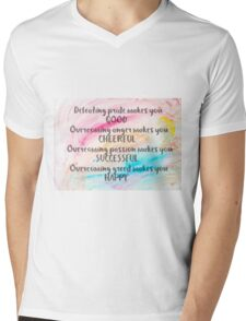 Inspirational quote over water color background Mens V-Neck T-Shirt
