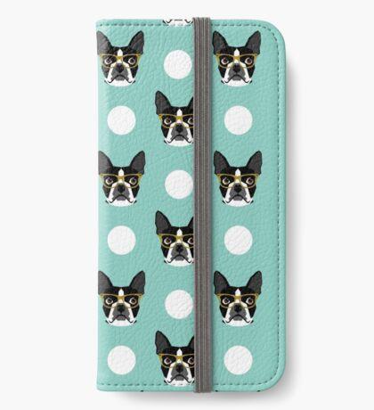 Logan - Boston Terrier pattern polka dots dog print gift for dog person dog lovers terrier custom iPhone Wallet/Case/Skin