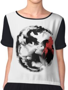 Psychedelic Dreaming Rorschach Black & White Ink Girl Chiffon Top