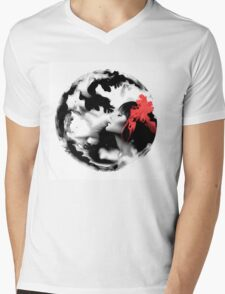 Psychedelic Dreaming Rorschach Black & White Ink Girl Mens V-Neck T-Shirt