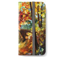 Abandoned time travel phone box under the bridge painting iPhone Wallet/Case/Skin