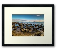 Half Moon Bay at low tide with shipwreck, Cerberus in the background Framed Print