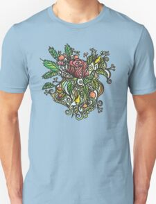 Rose tattoo sky blue Unisex T-Shirt