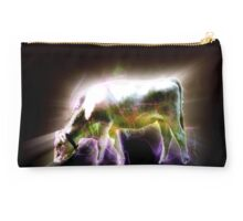 Digitally enhanced Cow Grazing in a meadow. Full body Studio Pouch