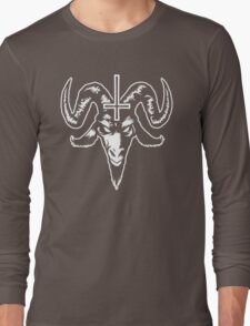Satanic Goat Head with Cross (white) Long Sleeve T-Shirt