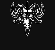 Satanic Goat Head with Cross (white) Unisex T-Shirt