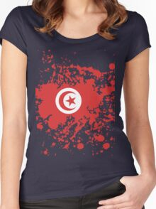 Tunisia Flag Ink Splatter Women's Fitted Scoop T-Shirt