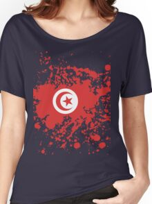 Tunisia Flag Ink Splatter Women's Relaxed Fit T-Shirt