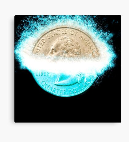 Digitally Enhanced US one Quarter Dollar coin (25 cents) splashes into water  Canvas Print