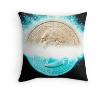 Digitally Enhanced US one Quarter Dollar coin (25 cents) splashes into water  Throw Pillow