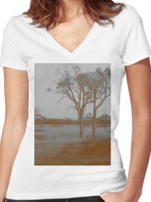 Countryside - Sepia Women's Fitted V-Neck T-Shirt