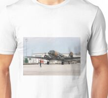 Two engines transport airplane Douglas DC-3 Dakota(C-47) the working hors of WWII on start line. Unisex T-Shirt