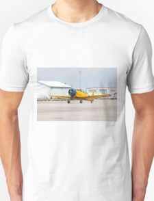 Single engine trainer North American Harvard IV rolling to location for stop. Unisex T-Shirt