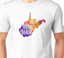 West Virginia US State in watercolor text cut out Unisex T-Shirt