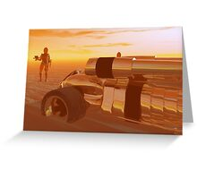 ARES CYBORG IN THE DESERT OF HYPERION,Sci Fi Greeting Card