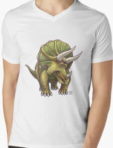 Animal Parade Triceratops Mens V-Neck T-Shirt