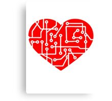 love heart circuitry electrically disk microchip symbol I love technology red Canvas Print