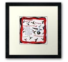 Hummingbird Nectar Recipe Framed Print