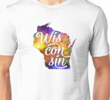 Wisconsin US State in watercolor text cut out Unisex T-Shirt
