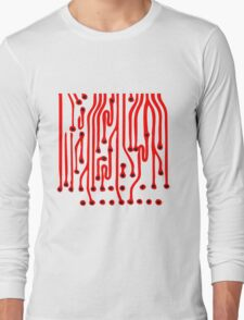 lines microchip disk pattern design cool lines Long Sleeve T-Shirt
