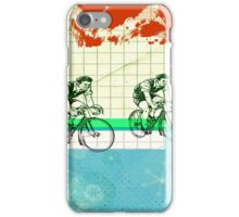 Cycling Mixed Media Collage Illustration iPhone Case/Skin