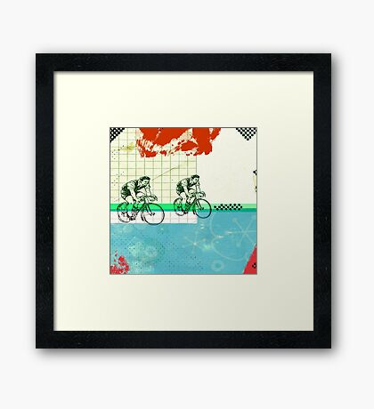 Cycling Mixed Media Collage Illustration Framed Print