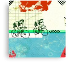 Cycling Mixed Media Collage Illustration Canvas Print