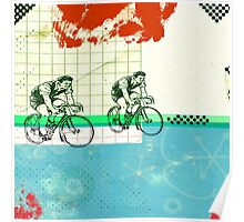 Cycling Mixed Media Collage Illustration Poster
