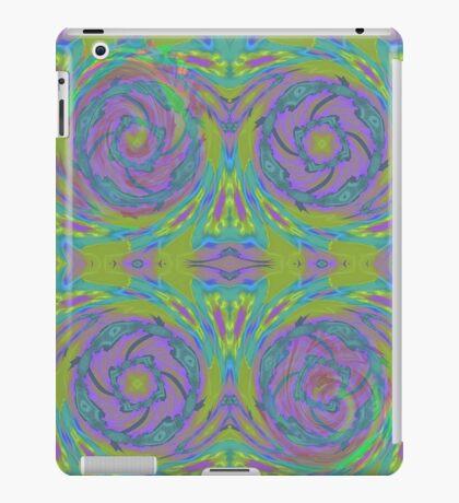 Psychedelic Green Purple Fractal Pattern iPad Case/Skin