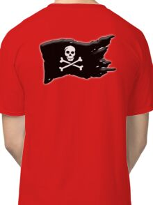 Pirate, FLAG, Skull & Crossbones, Jolly Roger, Buccaneers, Me Harties! BLACK on RED Classic T-Shirt