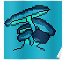 Pixel Art Blue Cave Mushrooms Poster