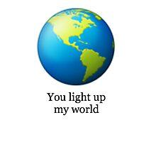 World emoji- You light up my world Photographic Print