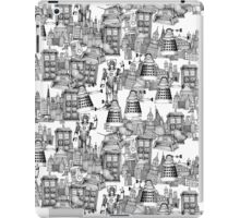 walking doodle toile de jouy black iPad Case/Skin