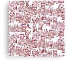 walking doodle toile de jouy red Canvas Print