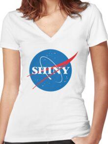Shiny - NASA logo Women's Fitted V-Neck T-Shirt