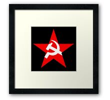 Red Star, Hammer and sickle, in five leg star. Communism, BLACK Framed Print