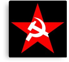 Red Star, Hammer and sickle, in five leg star. Communism, BLACK Canvas Print